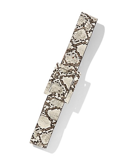 Snake-Print Buckled Stretch Belt - New York & Company