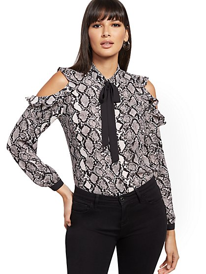 Snake-Print Cold-Shoulder Blouse - New York & Company
