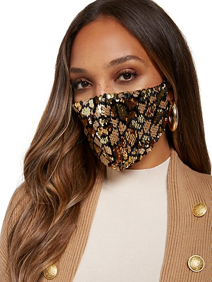 Snake-Print Face Mask - New York & Company