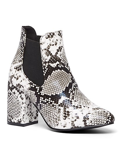 Snake-Print Faux-Leather Bootie - New York & Company