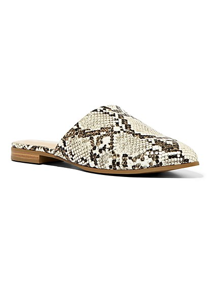 Snake-Print Faux-Leather Mule - New York & Company