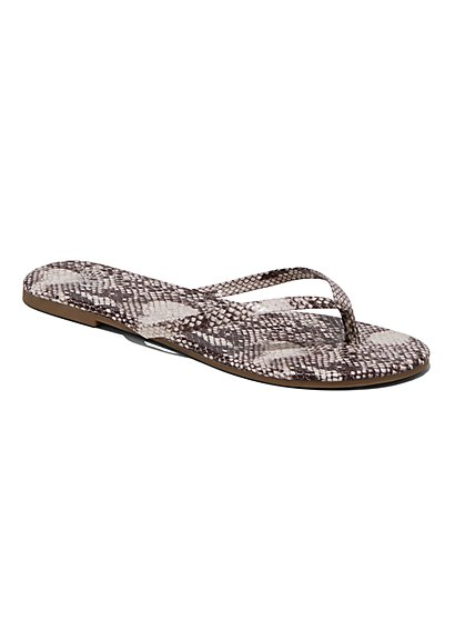 9205f128a689 Snake-Print Flip-Flop Sandal - New York & Company ...