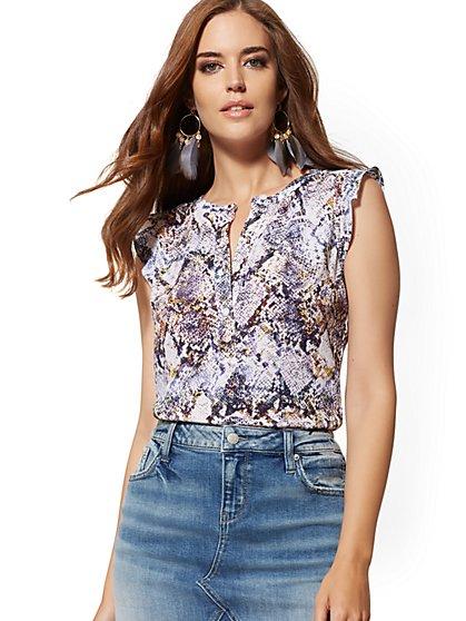 409a6ac448e733 Snake-Print Flutter-Sleeve Popover Blouse - Soho Soft Shirt - New York ...
