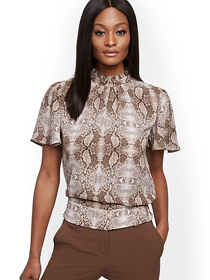 Snake-Print Flutter-Sleeve Top - New York & Company