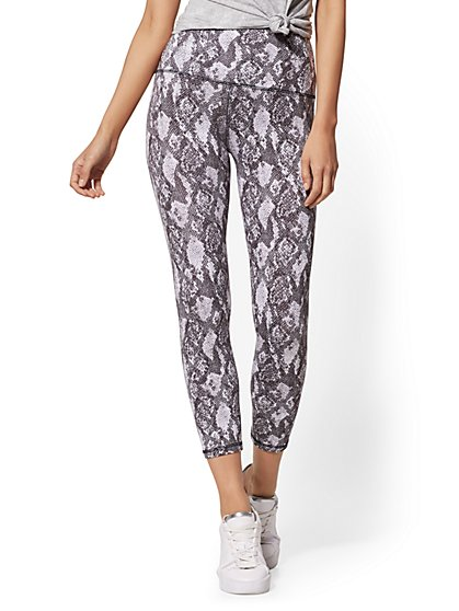 Snake-Print High-Waist Crop Legging - Soho Street - New York & Company