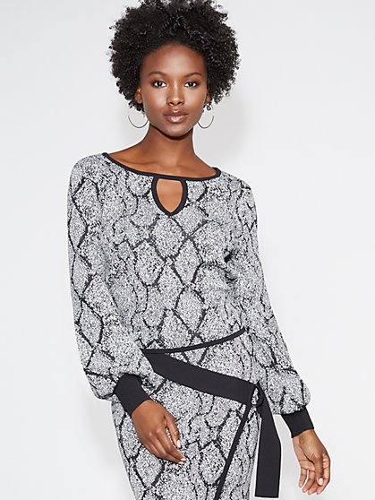 Snake-Print Keyhole Sweater - Gabrielle Union Collection - New York & Company
