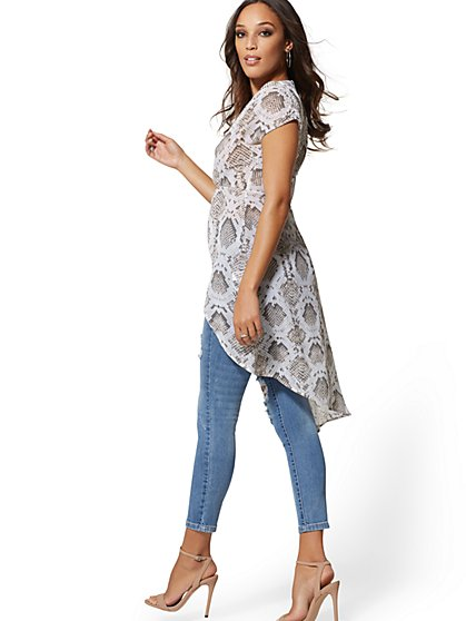 Snake-Print Knot-Front Dolman Tunic Blouse - New York & Company