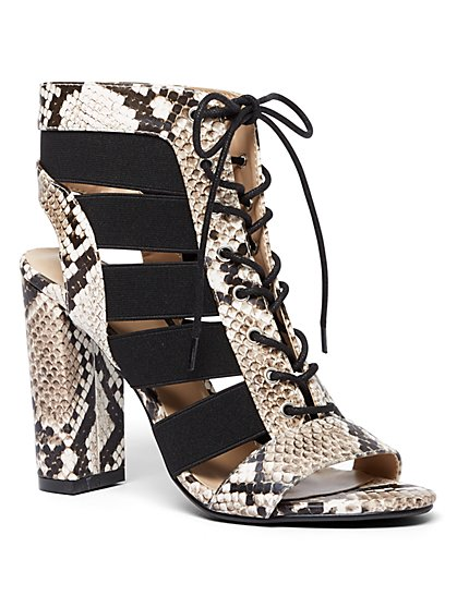 Snake-Print Lace-Up Sandal - New York & Company