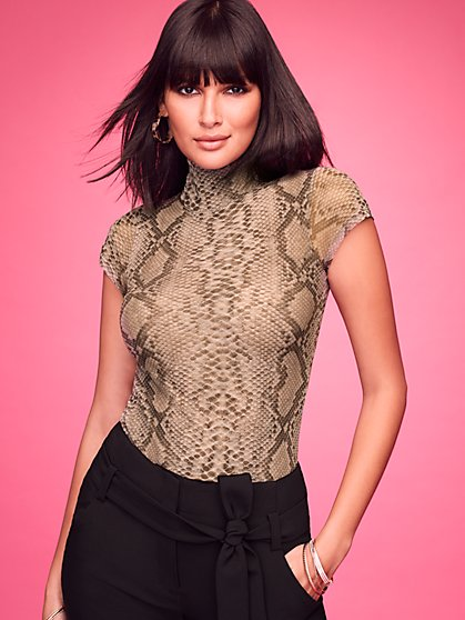 Snake-Print Mock-Neck Top - Sweet Pea - New York & Company