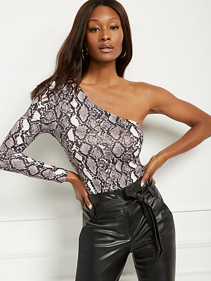 Snake-Print One-Shoulder Bodysuit - New York & Company