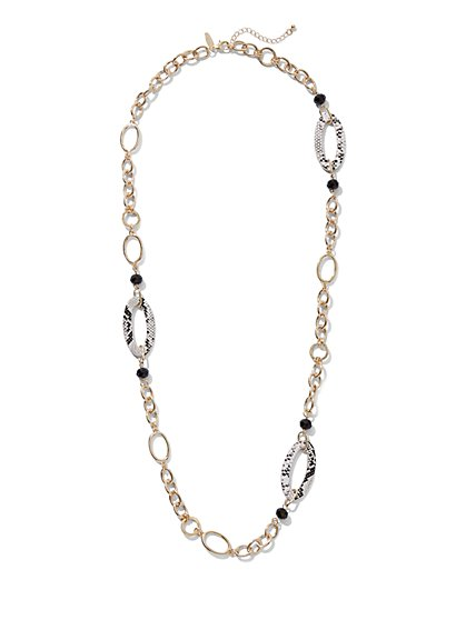 Snake-Print Oval Link Necklace - New York & Company