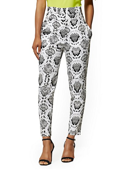 Snake-Print Paperbag-Waist Slim Ankle Pant - 7th Avenue - New York & Company
