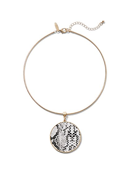 Snake-Print Pendant Collar Necklace - New York & Company