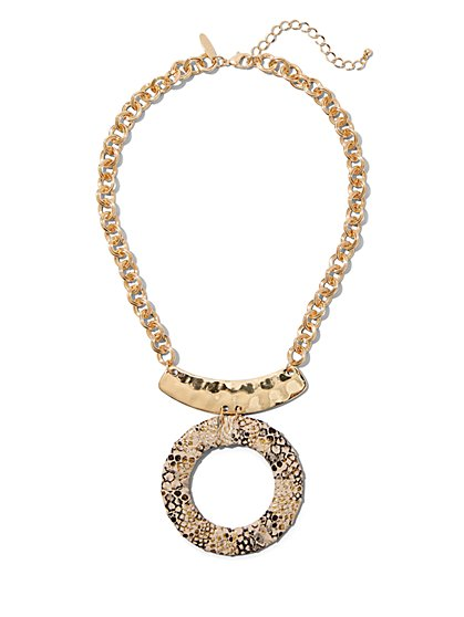 Snake-Print Pendant Necklace - New York & Company