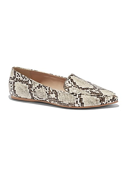 Snake-Print Pointed-Toe Loafer - New York & Company