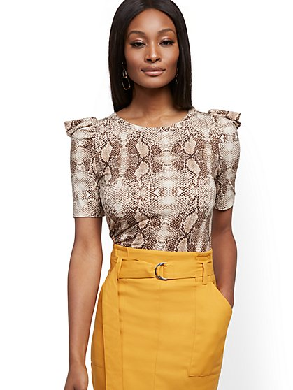 Snake-Print Puff-Sleeve Top - New York & Company