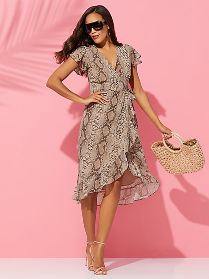 Snake-Print Ruffle Wrap Dress - Sweet Pea - New York & Company