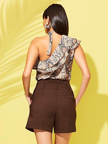 96a0a11e713 ... Snake-Print Ruffled One-Shoulder Blouse - Sweet Pea - New York & Company  ...