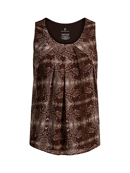 Snake-Print Sleeveless Top - New York & Company