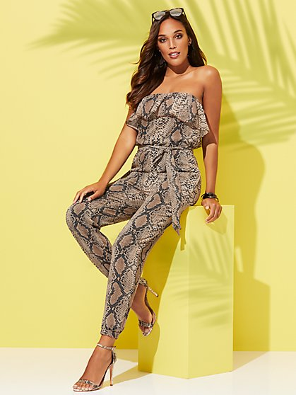 Snake-Print Strapless Jumpsuit - Sweet Pea - New York & Company