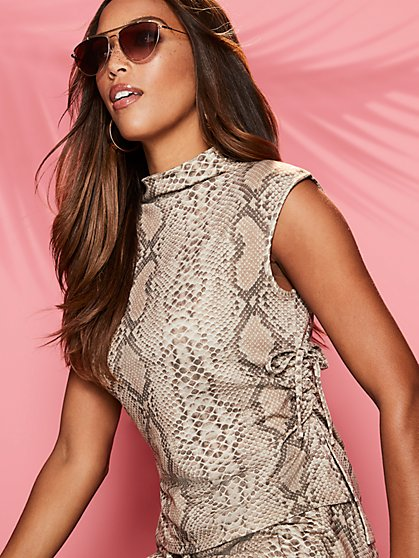 Snake-Print Tie-Detail Top - Sweet Pea - New York & Company