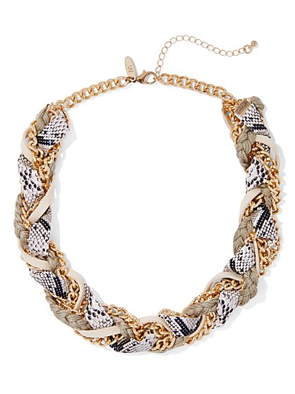 Snake-Print Torsade Necklace - New York & Company