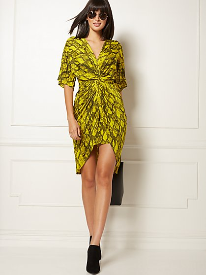 Snake-Print Twist-Front Sheath Dress - Soho Street - New York & Company