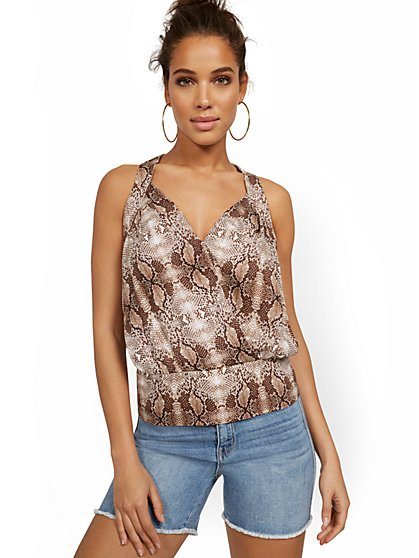 Snake-Print V-Neck Wrap Blouse - New York & Company