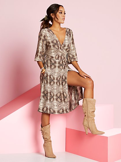 Snake-Print Wrap Dress - New York & Company