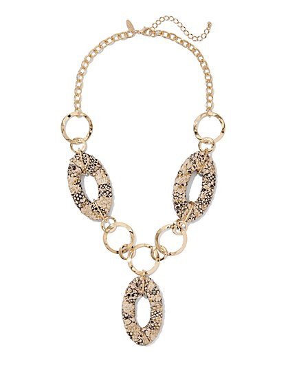 Snake-Print Y Necklace - New York & Company