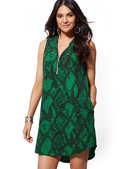 Snake-Print Zip-Front Shirt Dress - New York & Company