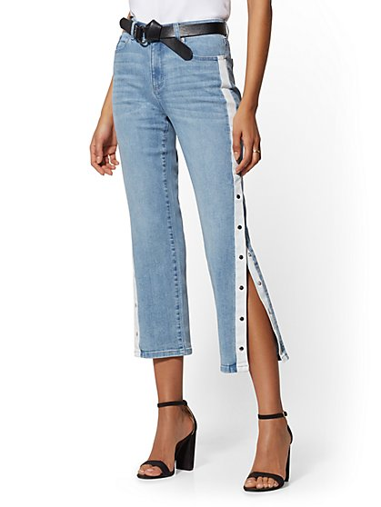 Snap-Closure High-Waist Straight Leg Crop Jeans - Indigo - Soho Jeans - New York & Company