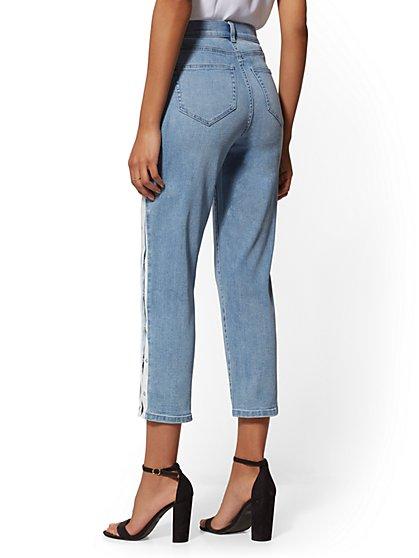 993d130dd3f ... Snap-Closure High-Waist Straight Leg Crop Jeans - Indigo - Soho Jeans  ...