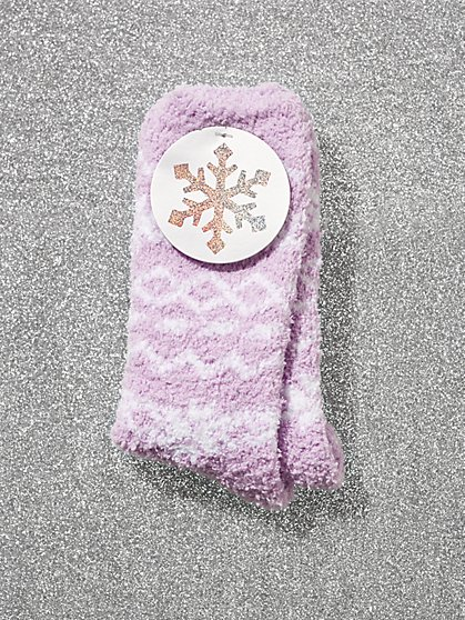 Snowflake-Print Cozy Socks - New York & Company