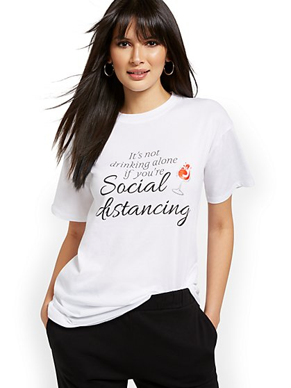 Social Distancing Oversized Graphic Tee - New York & Company