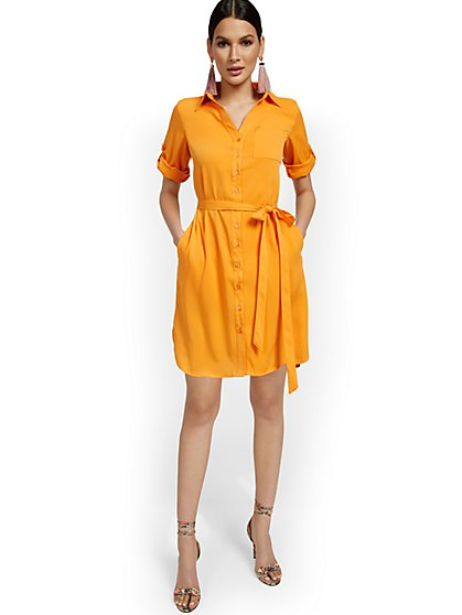 Soft Elbow-Sleeve Shirtdress - New York & Company