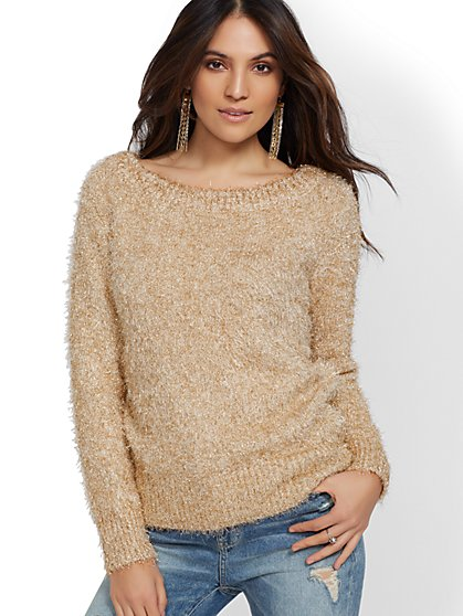 Soft Metallic Sweater - New York & Company