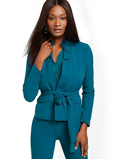 Soft Tie-Front Blazer - Double Stretch - 7th Avenue - New York & Company