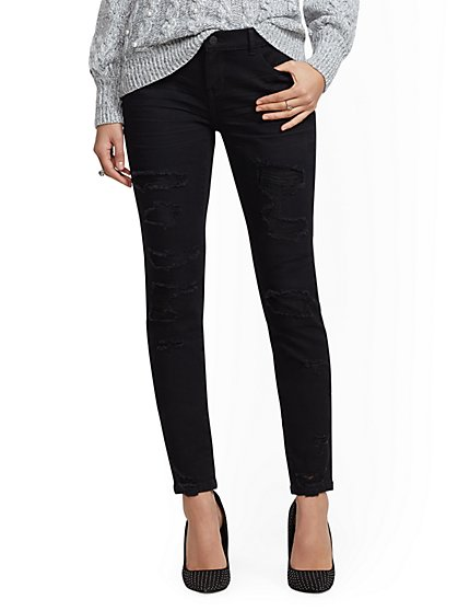Soho Jeans - Black Rip & Repair Legging - New York & Company