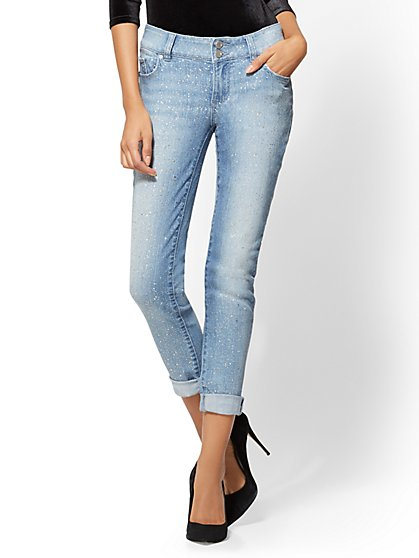 Soho Jeans - Boyfriend - All-Over Glitter - Blue Dazzler - New York & Company