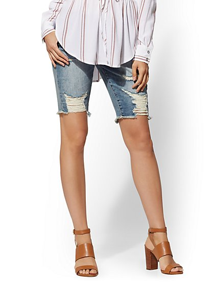 Soho Jeans - Destroyed 10 Inch Boyfriend Bermuda Short - New York & Company