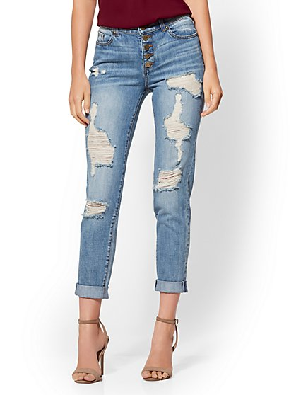 Soho Jeans - Destroyed Boyfriend - High-Waist Medium Blue - New York & Company