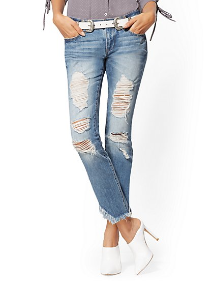 Soho Jeans - Destroyed Boyfriend - Medium Blue - New York & Company