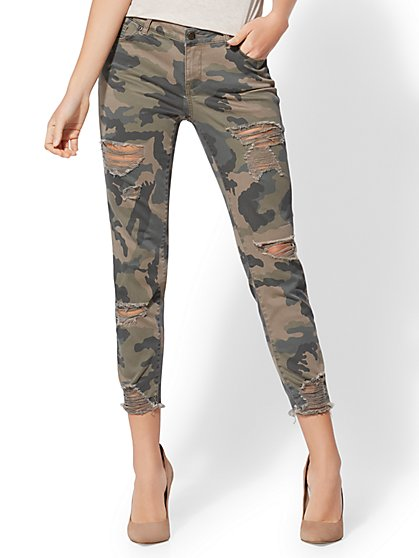 Soho Jeans - Destroyed Camo Boyfriend Jeans - New York & Company
