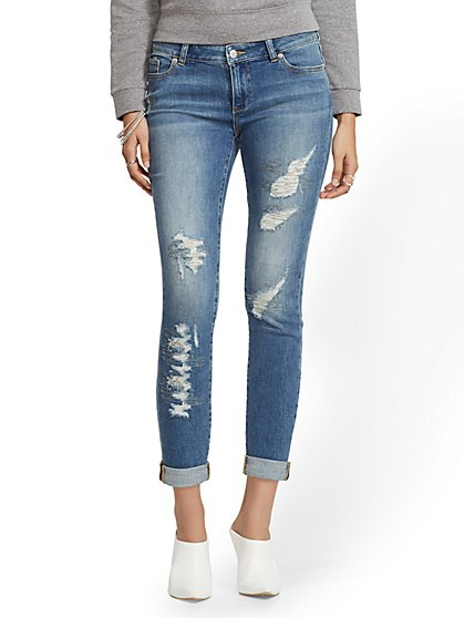 Soho Jeans - Destroyed Faux-Stone Boyfriend - Sparkling Blue - New York & Company