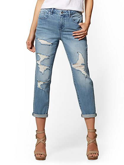 Soho Jeans - Destroyed High-Waist Mom Jean - New York & Company