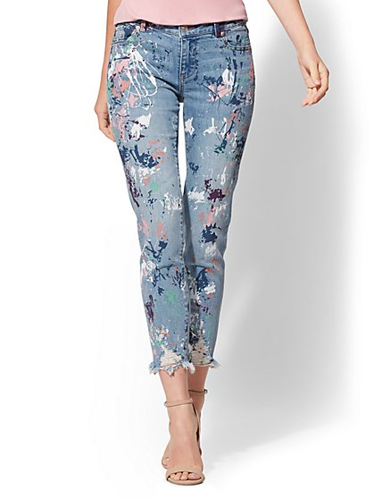 Soho Jeans - Destroyed Paint-Splattered Boyfriend Jeans - New York & Company