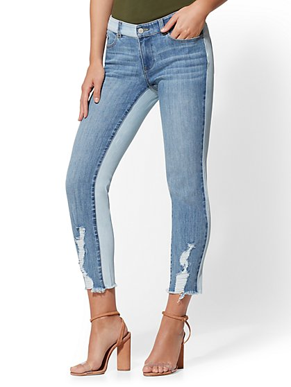 Soho Jeans - Destroyed Two-Tone Boyfriend Jeans - Indigo - New York & Company