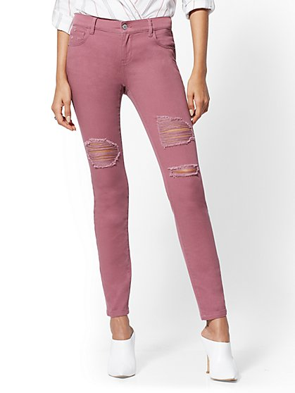 Soho Jeans - Dusty Rose Destroyed Legging - New York & Company