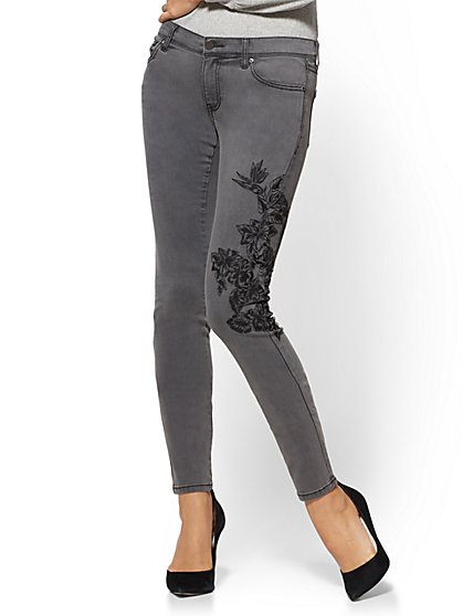 Soho Jeans - Embroidered Skinny Jeans - New York & Company